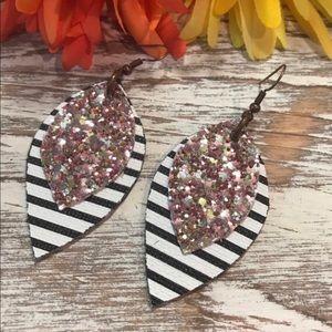 """Faux Leather Earrings 2"""" Petal Stripes Glitter"""